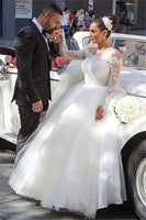 Off the Shoulder Ball Gown Wedding Dress with Long Sleeves, Custom Made Bridal Dresses, Vestidos de Novia BDS0602