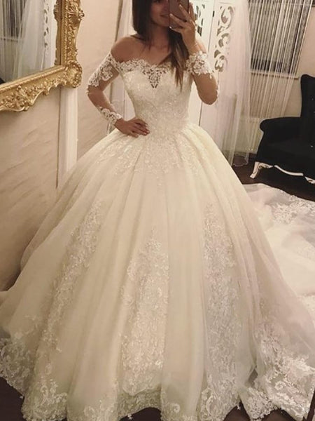 Off the Shoulder Ball Gown Wedding Dress With Long Sleeves, Fashion Custom Made Bridal Dresses, Plus Size Wedding dress BDS0643