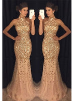 Fashion Halter Neck Mermaid Full Beaded Tulle Long Prom Dress Wedding Party Dress Formal Dress PDS0459