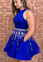 Royal Blue Homecoming Dress with Pockets, Hoco Dresses, Short Prom Dress, Back to School Party Dance Dress PDS0797