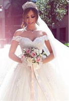 Off the Shoulder Tulle Wedding Dress Bridal Dresses Ball Gown Wedding Dress with Applique BDS0448