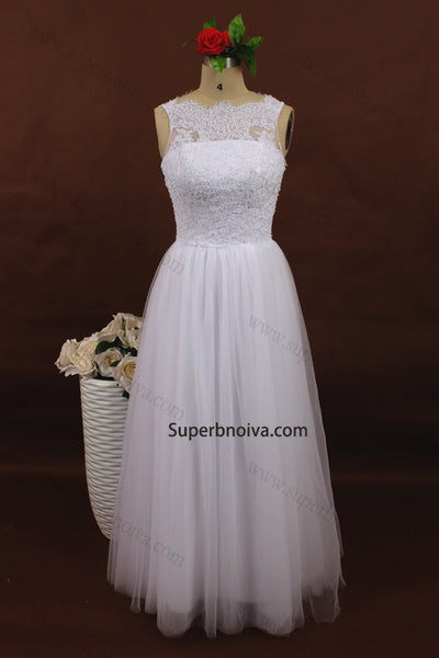 A-line Lace/Tulle Beach Wedding Dress Without Train Real Photo Beach Bridal Dress  BDS0566
