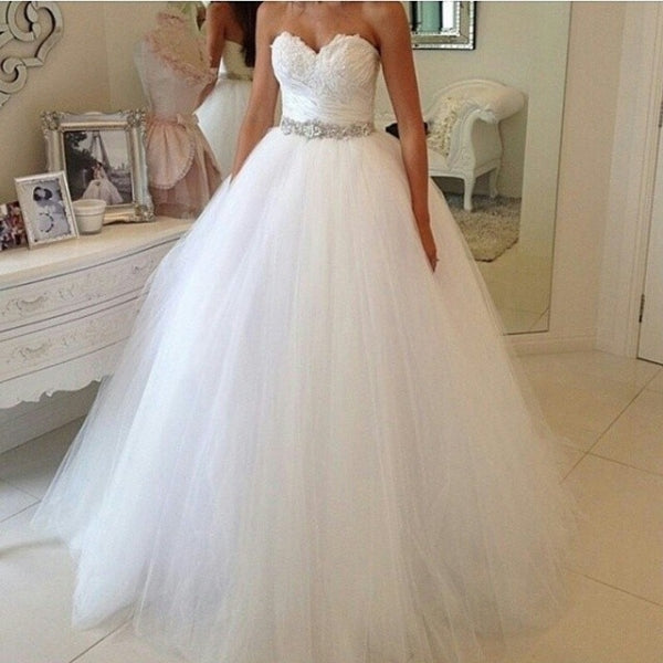 Strapless Ball Gown Lace/Tulle Wedding Dress Bridal Dresses Vestidos de Novia BDS0555