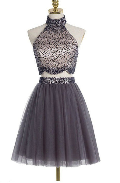 Two Piece Beading Homecoming Dress , Short Prom Dress, PDS0129