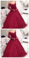 Off the Shoulder Long Prom Dress Ball Gown With Applique,Popular Wedding Party Dress,Cocktail Dress, PDS0331