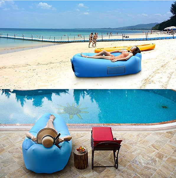 Outdoor Inflatable Lounger Inflatable Couch Air lounger Air Chair Lounger Air Sofa Blow Up Air Couch with Portable Storage Bag Wonderful Gift for Camping, Hiking, Swimming, Pool and Beach