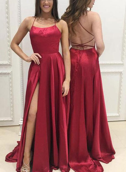 2edc6339c8c4 Backless Simple Burgundy Satin Long Prom Dress , Party Dress ,Formal Dress,  PDS0541