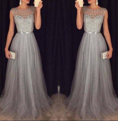 A-line Long Prom Dress With Beading,Popular Wedding Party Dress,Cocktail Dress, PDS0332