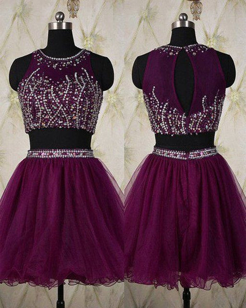 Two Piece Beading Homecoming Dress With Open Back, Short Prom Dress  PDS0090