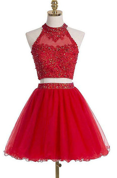 Two Piece Homecoming Dress With Applique and Beading, Short Prom Dress  PDS0095