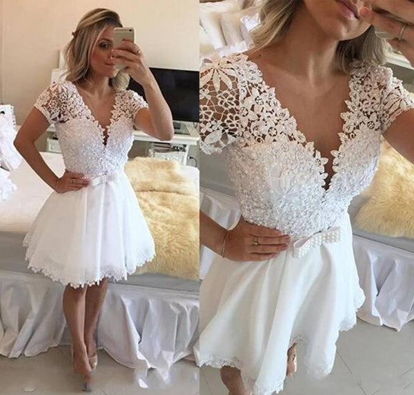 A Line Homecoming Dress With Applique and Pearl,Short Wedding Dress, Prom Dresses Cocktail Dresses Graduation Dresses PDS0295