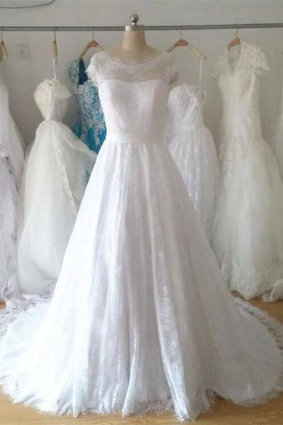 A-line Ball Gown Wedding Dress  ,Popular Lace Bridal Dress  BDS0225