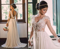 V-neck A-line Wedding Dress With Applique and Beading , Popular Bridal Dress ,  BDS0279