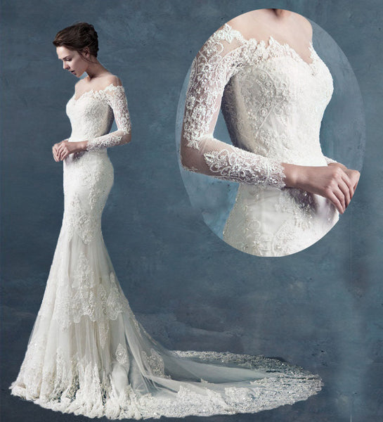 Mermaid Lace Wedding Dresses ,Wholesale Bridal Wedding Gown, Dress For Brides BDS0609