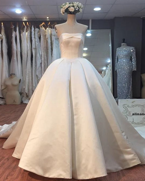 Strapless Ball Gown Satin Wedding Dress Real Photo Bridal Dresses Vestidos de Novia BDS0547