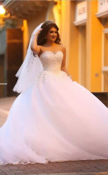 Sweetheart Ball Gown Wedding Dress Beaded Bridal Dresses Vestidos de Novia BDS0577