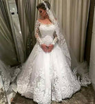 2 in 1 A-line Appliqued Wedding Dress,Bridal Dresses with Long Sleeves  BDS0092