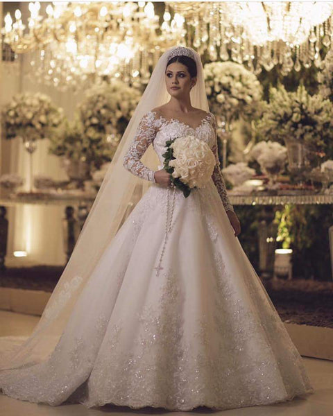 49442996d26381 Princess Style Wedding Dress With Long Sleeves and Pearls, Popular Bridal  Dress , SN0005