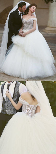 Off the Shoulder Princess Ball Gown Wedding Dress with Beading ...