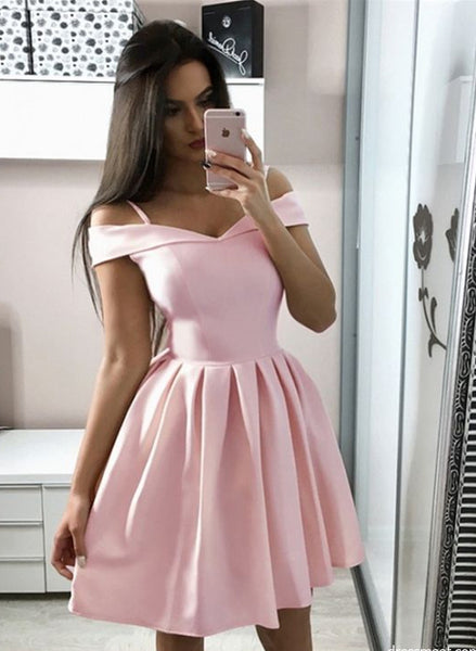Baby Pink Homecoming Dress Off The Shoulder, Hoco Dresses, Short Prom Dress, Back to School Party Dance Dress PDS0816