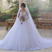 Popular Ball Gown Wedding Dress With Long Sleeves , Fashion Bridal Dress With Applique And Beading BDS0280