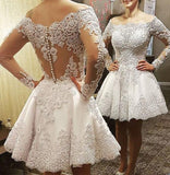 2 in 1 A-line Appliqued Wedding Dress,Bridal Dresses with Long Sleeves  SN0702