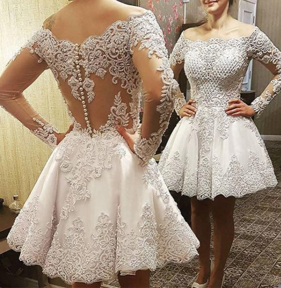 The Bride Gowns For Wedding Reception: 2 In 1 A-line Appliqued Wedding Dress,Bridal Dresses With