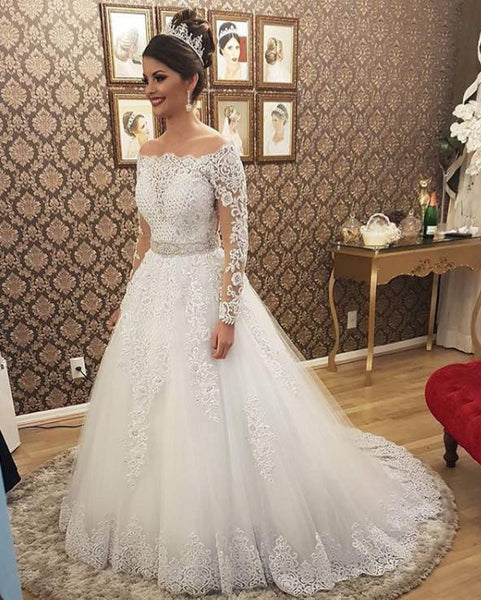 17896ba7f538f ... 2 in 1 A-line Appliqued Wedding Dress,Bridal Dresses with Long Sleeves  SN0702 ...