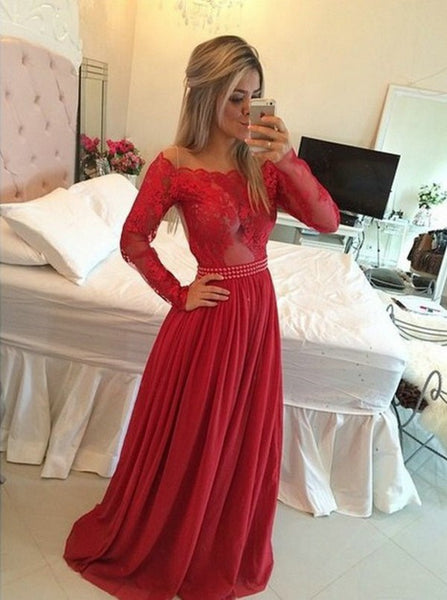 Fashion Long Prom Dress with Applique and Beading Long Sleeves Wedding Party Dress Formal Dress PDS0628