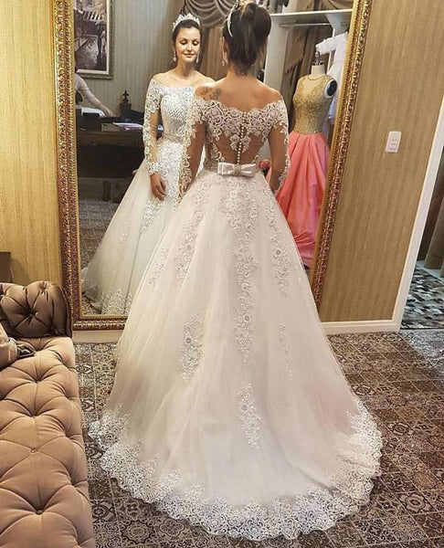 Off the Shoulder Ball Gown Wedding Dress With Long Sleeves , Fashion Bridal Dress With Applique And Beading BDS0278