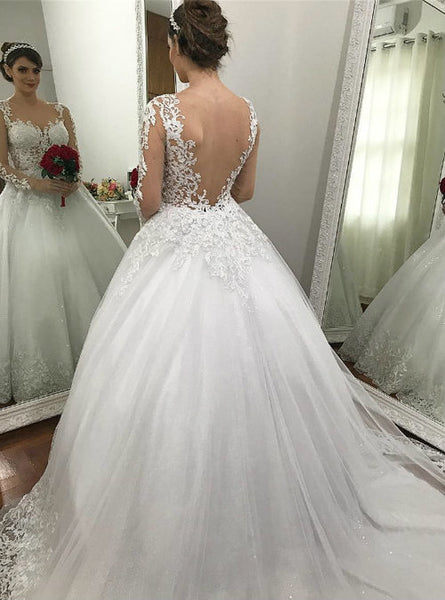 Ball Gown Wedding Dress with Sleeves, Fashion Custom Made Bridal Dresses, Plus Size Wedding dress BDS0658