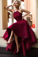 A-Line Crew High Low Asymmetrical Burgundy Satin Long Prom Dress , Party Dress ,Formal Dress, PDS0540