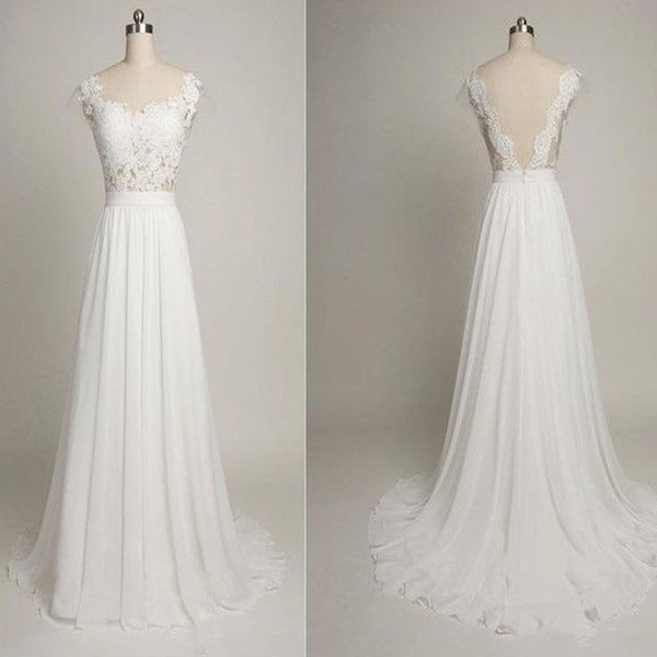 Backless A-line Wedding Dress ,Popular Chiffon Beach Wedding Dresses, Fashion Appliqued Bridal Dress BDS0015