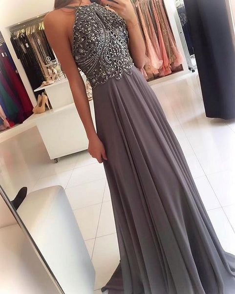 Fashion Beaded Top Chiffon Long Prom Dresses Wedding Party Dress Formal Dress PDS0455