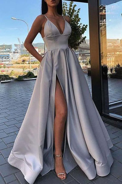 V-neck Sexy Long Prom Dress with Slit,Sweet 16 Dress, Pageant Dress, Wedding Party Dress PDS1085
