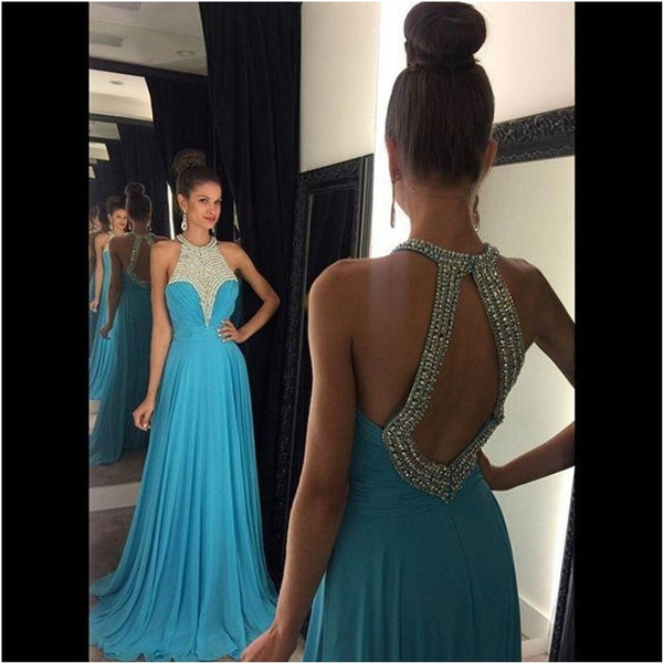Open Back Beaded Long Prom Dress ,Wedding Party Dress,Popular Cocktail Dress,Fashion Evening Dress  PDS0180
