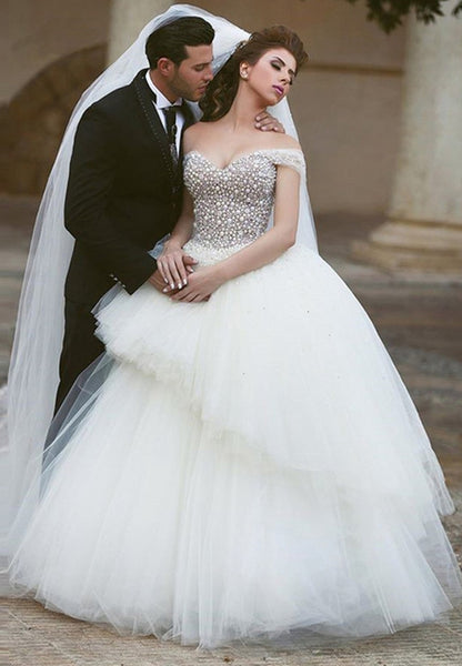 Off the Shoulder Princess Ball Gown Wedding Dress with Beading Bridal Dresses BDS0317