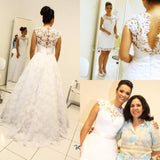 2 in 1 Backless Appliqued Wedding Dresses,Fashion Bridal Dress  SN0624
