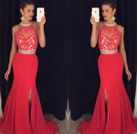 Halter Neck Top Beaded Long Prom Dress Mermaid Wedding Party Dress Formal Dress PDS0504