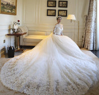 Off the Shoulder Ball Gown Wedding Bridal Dresses With Long Sleeves ,Vestidos de Novia BDS0329