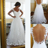 A-line Appliqued Wedding Dress , Fashion Bridal Dress, BDS0267