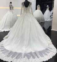 Fashion Ball Gown Long Sleeve Wedding Bridal Dresses With Applique and Beading BDS0315