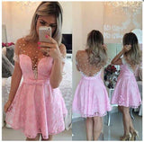 Lace Homecoming Dress with Beading, Short Prom Dress PDS0211