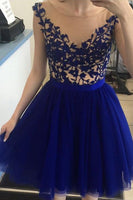Short Homecoming Dress With Beading And Applique , Short Prom Dress, PDS0130