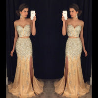 Two Piece Full Beaded Long Prom Dress Wedding Party Dress Formal Dress PDS0503