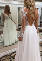 V-neck A-line Wedding Dress with Sleeves ,Bridal Dress , Bride Wear, Custom Made Dress For Wedding BDS0696