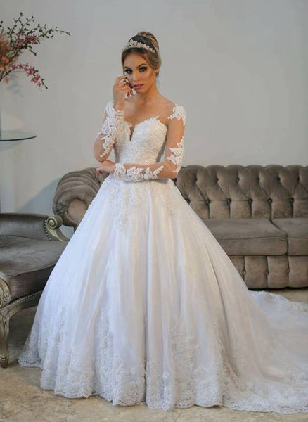 Appliqued Ball Gown Wedding Dress With Long Sleeves , Fashion Bridal Dress BDS0247