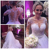 Popular Ball Gown Wedding Dress With Long Sleeves , Fashion Bridal Dress with Applique and Pearls BDS0246