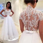 Short Sleeves A-line Wedding Dress Bridal Dresses Vestidos de Novia BDS0575
