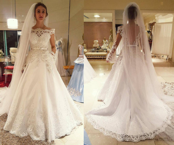 A-line Wedding Dress with Applique and Beading , Fashion Bridal Dress BDS0250